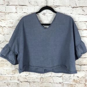 ASOS Denim Blue Sz 8 Ruffle Sleeve Smock Crop Top
